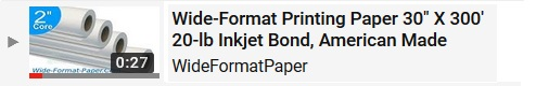 30-x 300 20# Bond Paper Large-Format Roll. American Made Wide-Format Printing Paper 30