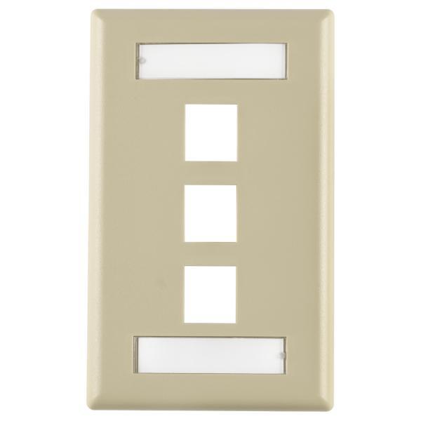 White ABS 94V-0 Hellermann Tyton FPITRIPLE-W Single Gang 3 Port Faceplate With ID Windows