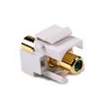 HellermannTyton | RCAINSERTG-W | RCA COUPLER W/GRN STRIPE-WHITE |  Lectro Components