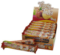 Zazers Kosher Tinny Taffy Peach Chewy Candy Gluten Free Display Box of 24 Bars of 5 Pieces
