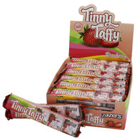 Zazers Kosher Tinny Taffy Strawberry Chewy Candy Gluten Free Display Box of 24 Bars of 5 Pieces