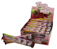 Zazers Kosher Tinny Taffy Respberry Chewy Candy Gluten Free Display Box of 24 Bars of 5 Pieces
