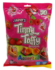 Zazers Kosher Tinny Taffy Assorted Chewy Candy Gluten Free (2 Bags of 50 Cubes)
