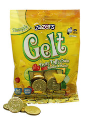 Zazers Gelt Fruity Taffy Coins Pine Apple Flavored (Gold) - Bag of 35