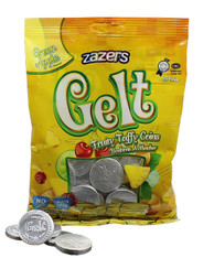 Zazers Gelt Fruity Taffy Coins Green Apple Flavored (Silver) - Bag of 35