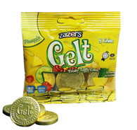 Zazers Gelt Fruity Taffy Coins Pine Apple Flavored (Gold) - Bag of 8
