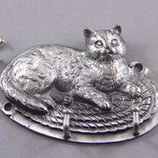 Pewter Cat on the mat key hanger