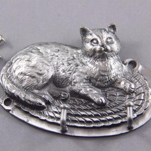 Pewter Cat on the mat key hanger