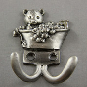 Pewter Bathing Bear Key Hanger