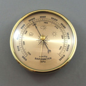 108mm Brass Bezel Barometer Gold