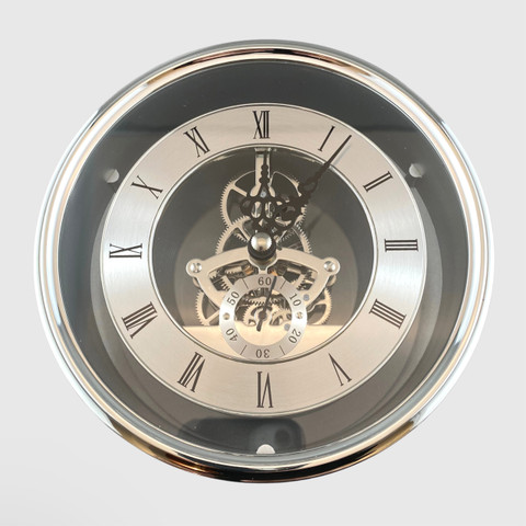 150mm Silver Skeleton Clock
