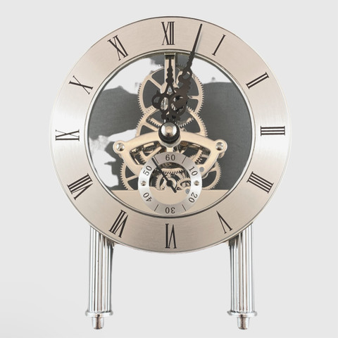 125mm Silver Skeleton Clock with Feet