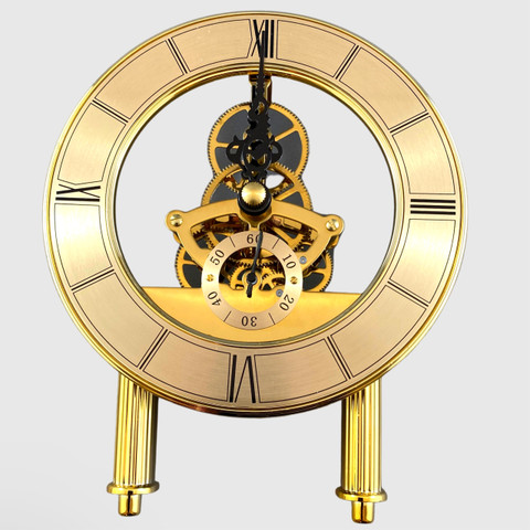 125mm Gold Skeleton Clock with feet