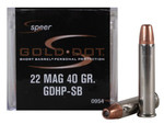 Speer Gold Dot Short Barrel Ammunition 22 Magnum (WMR), Gold Dot Hollow Point (HP), 40 GR, 1050 fps, 50 Rd/box - 0954