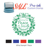 SALE ITEM: Pre-Ink Stamp: Wreath Style PZ-128