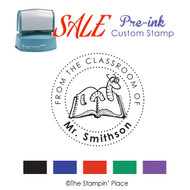SALE ITEM: Custom Pre-Ink Stamp: Bookworm Style PZ-130