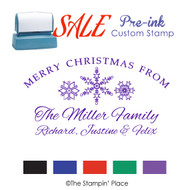 SALE ITEM: Custom Pre-Ink Stamp: Snowflakes Signature Style PZ-113