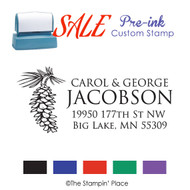 SALE ITEM: Custom Pre-Ink Stamp: Pinecone Address Style PZ-119