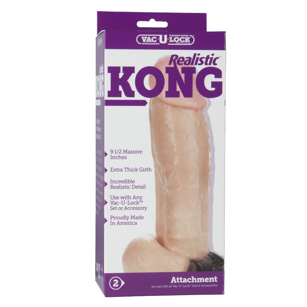 Doc Johnson Vac-U-Lock Realistic Kong Dildo 9.5 Inches