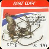 Eagle Claw 181A-1/0 Classic Hooks 8Pk Sz1/0 Brnz Baitholder