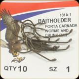Eagle Claw 181A-1 Classic Hooks 10Pk Sz1 Brnz Baitholder