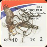 Eagle Claw 181A-2 Classic Hooks 10Pk Sz2 Brnz Baitholder