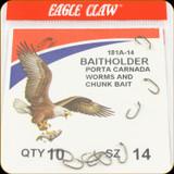 Eagle Claw 181A-14 Classic Hooks 10Pk Sz14 Brnz Baitholder