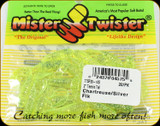 "Mr Twister TTSF20-10S Teenie Tail 2"" Chartreuse/Silver Flk 20Pk"