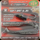 "Laserlure HC5ST375BTS Laser Jig Head 2pk Blk 3/8oz 5"" Ten Shad Split Tail"