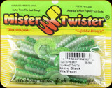 "Mister Twister TA2CT20-N12BK1P Tri Alive 2"" Curly Tail 20pk - Lime Black Flk/Pearl"