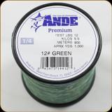 Ande Line Prem Mono 12Lb 1000Yrd Green 1/4Lb