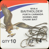 Eagle Claw 181A-4 Classic Hooks 10Pk Sz4 Brnz Baitholder