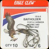 Eagle Claw 181A-6 Classic Hooks 10Pk Sz6 Brnz Baitholder