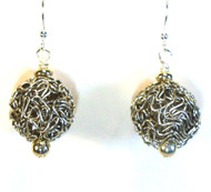 Antiqued Silver Wire Yarn Ball Earrings