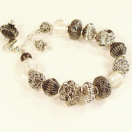Mixed Silver Beads Bracelet with Silver Foil in Glass