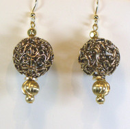 Gold Plated  Wire Bead Earrings