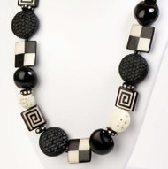 Black and White Bone, Cinnabar and Seed  Necklace