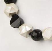 Black Faceted Onyx with Mother of Pearl Cubes