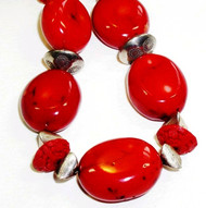 Red Bamboo Coral Necklace with Silver and Cinnabar