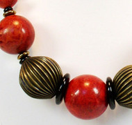 Sponge Coral and Brass Necklace with Large Center Bead