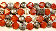 Faceted Flat Round Sponge Coral with mixed Silver Beads