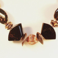 Copper Spiral with Black Agate Wings