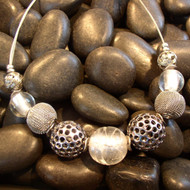 Large Silver Foil Bead with Mixed Silver Bead Necklace.