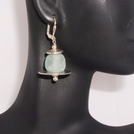 Aqua Sea Foam Glass :Earrings