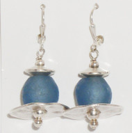 Denim Blue Glass & Silver earrings