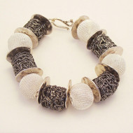 Two tones Silver mesh and Gunmetal Wire Bead Bracelet