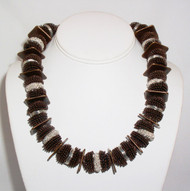 Copper Crocheted Acorns with Silver Spacer Necklace