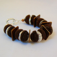Copper Crocheted Acorns with Silver Spacers Bracelet