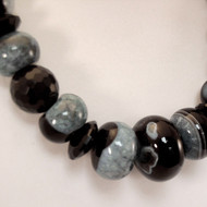 Marbled Agate and Faceted Onyx Necklace