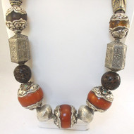 Tibetan Vintage Amber with Carved Silver and Turquoise Necklace.